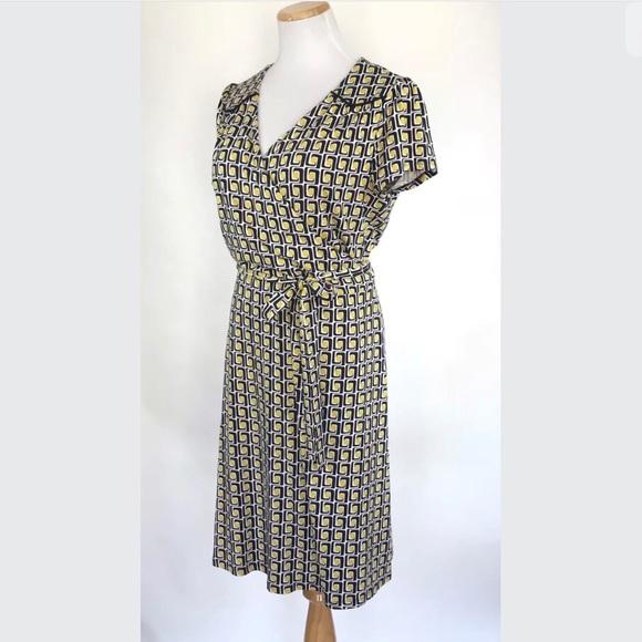 Boden Dresses Jersey Knit Wrap Dress Navy Pattern Sz4 Poshmark